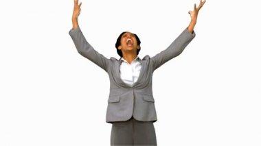 Furious businesswoman raising arms on white screen — Stock Video