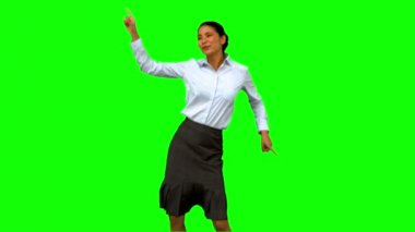 Businesswoman disco dancing on green screen — Stock Video
