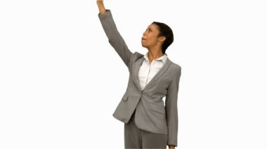 Angry woman raising her phone in the air on white screen — Vídeo stock
