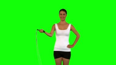 Woman holding a skipping rope — Stock Video