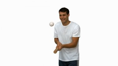 Man dribbling with a baseball on white screen — Stock Video