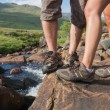 Couples feet standing at edge of river — Stock Photo #31459441