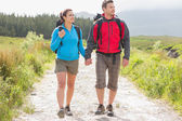 Hikers with backpacks holding hands and walking — Photo