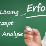 affärsman skriva ord om planering med en markör på tyska — Stockfoto