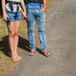 Legs of couple going for a trek together — Stockfoto