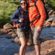 Foto Stock: Smiling couple on hike