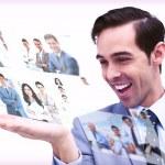 Pleased man admiring pictures — Stock Photo