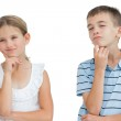 Thoughtful brother and sister posing together — Stock Photo