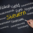 Hand holding a chalk and writing several words about tax in german — Stock Photo #31464099