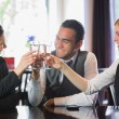 Happy business folk firar med champagne — Stockfoto #31464101