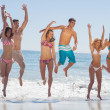 Stock Photo: Happy friends jumping on the beach