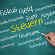 Hand holding a chalk and writing several words about tax in german — Stock Photo #31464317