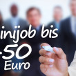 Businessman writing with a marker minijob bis 450 euro — Stock Photo