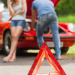 Close up on triangle warning sign — Stock Photo