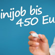 Hand writing with a marker minijob bis 450 euro — Stock Photo