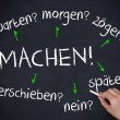 Hand writing several german question words with a chalk  — Stock Photo