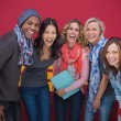 Group of cheerful friends laughing together — Stock Photo
