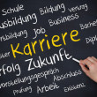 Hand holding a chalk and writing several german words about career — Stock Photo #31468813