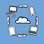 Cloud computing drawings — Stock Photo
