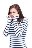 Poz endişeli genç brunette — Stok fotoğraf