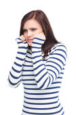Apprehensive young brunette posing — Stock Photo