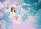 Beautiful businesswoman using digital interface — Stock Photo