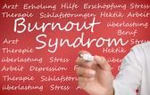 Hand writing different german words about burnout syndrome — Stock Photo
