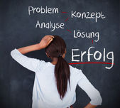 Woman having a brainstorm in german — Stock Photo
