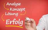 Businessmans hand writing problem analyse konzept losung and erfolg — Stock Photo