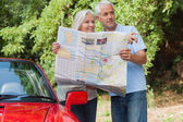 Smiling mature couple reading map looking for direction — Stock Photo