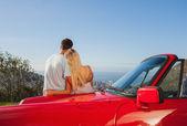 Vista posteriore della coppia abbracciarsi e ammirando il panorama — Foto Stock