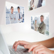 Woman typing on her laptop — Stock Photo