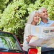 Cheerful mature couple reading map looking for direction — Foto Stock