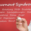 Stock Photo: Hand writing different words about burnout syndrome in german