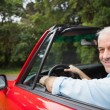 Stock Photo: Smiling handsome mdriving red cabriolet