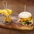 Close up on a cheese burger and french fries — Stockfoto