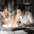 Students using futuristic interface to learn about science from digital tablet — Stock Photo #31472331