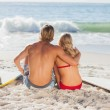 Stock Photo: Rear view of couple sitting on beach and looking at sea