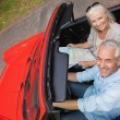 High angle view of smiling mature man having a ride with his wife — Stock Photo #31473397