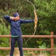 Stock Photo: Brunette practicing archery