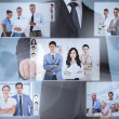 Businessman presenting pictures of coworkers — Stock Photo #31474065