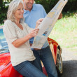Cheerful mature couple reading map together — Foto de Stock