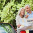 Stock Photo: Smiling mature couple looking for direction
