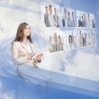 Cheerful businesswoman using digital interface — Stock Photo #31474655