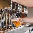 Mans hand pouring beer  — Stockfoto