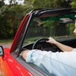 Handsome mature man driving cabriolet — Stock Photo