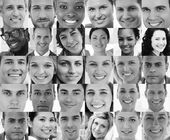 Head shot profile pictures of smiling applicants — Stock Photo