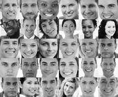 Hoofd geschoten profiel foto's van glimlachen aanvragers — Stockfoto