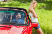 Young couple having a dispute while going on holidays — Stock Photo
