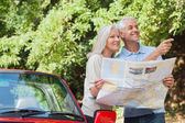 Cheerful mature couple reading map looking for direction — Stock Photo